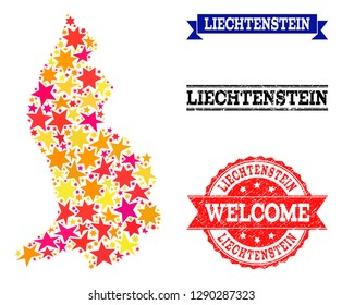 Mosaic map of Liechtenstein created with colored flat stars, and grunge textured stamps, isolated on an white background. Vector colored geographic abstraction of map of Liechtenstein with red,