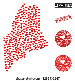 Mosaic map of Maine State designed with red love hearts, and rubber watermarks for dating. Vector lovely geographic abstraction of map of Maine State with red dating symbols.