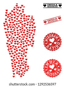 Mosaic map of Mizoram State created with red love hearts, and rubber stamp seals for Valentines day. Vector lovely geographic abstraction of map of Mizoram State with red romantic symbols.