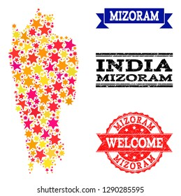 Mosaic map of Mizoram State formed with colored flat stars, and grunge textured stamps, isolated on an white background. Vector colored geographic abstraction of map of Mizoram State with red, yellow,