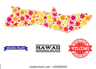 Mosaic map of Molokai Island formed with colored flat stars, and grunge textured stamps, isolated on an white background. Vector bright geographic abstraction of map of Molokai Island with red,