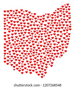 Mosaic map of Ohio State composed with red love hearts. Vector lovely geographic abstraction of map of Ohio State with red wedding symbols. Romantic design for wedding purposes.