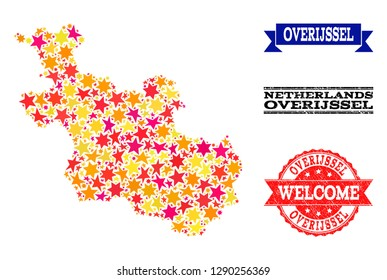 Mosaic map of Overijssel Province created with colored flat stars, and grunge textured stamps, isolated on an white background.