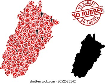 Mosaic map of Punjab Province united from covid infection elements and people items. No Rubber distress watermark. Black crowd symbols and red covid items. No Rubber title is inside round watermark.