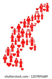 Mosaic map of Saipan Island composed with red lovely brides and grooms. Vector lovely geographic abstraction of map of Saipan Island with red family symbols. Romantic flat design for bonus purposes.