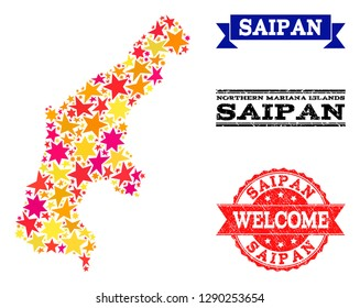 Mosaic map of Saipan Island formed with colored flat stars, and grunge textured stamps, isolated on an white background. Vector colored geographic abstraction of map of Saipan Island with red, yellow,