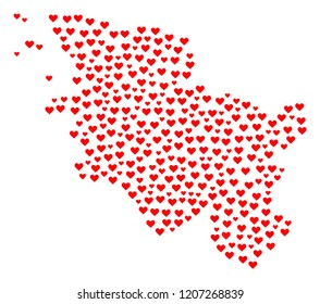Mosaic map of Schleswig-Holstein State designed with red love hearts. Vector lovely geographic abstraction of map of Schleswig-Holstein State with red romantic symbols.