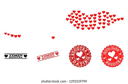 Mosaic map of Socotra Archipelago formed with red love hearts, and grunge stamp seals for Valentines day. Vector lovely geographic abstraction of map of Socotra Archipelago with red romantic symbols.