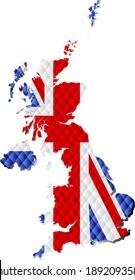 Mosaic Map of the United Kingdom - Illustration,  Three Dimensional Map of United Kingdom