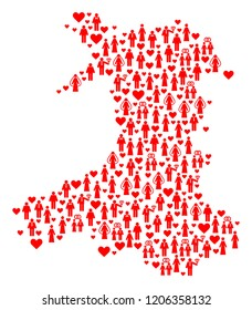 Mosaic map of Wales composed with red lovely persons. Vector lovely geographic abstraction of map of Wales with red valentine symbols. Romantic flat design for relations illustrations.