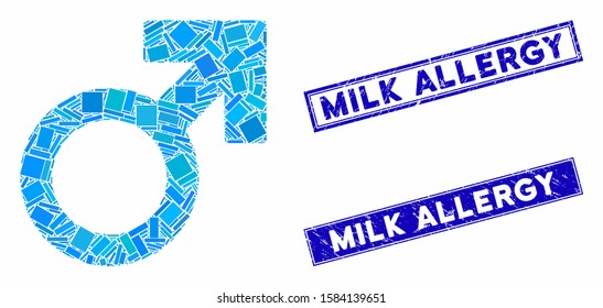 Mosaic Mars symbol pictogram and rectangular Milk Allergy seal stamps. Flat vector Mars symbol mosaic pictogram of random rotated rectangular elements. Blue Milk Allergy stamps with grunge textures.