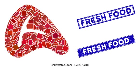 Mosaic meat steak icon and rectangle Fresh Food seal stamps. Flat vector meat steak mosaic icon of scattered rotated rectangle elements. Blue Fresh Food seal stamps with grunge surface.
