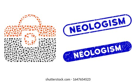 Mosaic medic case and grunge stamp seals with Neologism caption. Mosaic vector medic case is designed with scattered ellipse items. Neologism stamp seals use blue color,