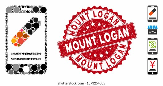 Mosaic medication online information icon and rubber stamp seal with Mount Logan caption. Mosaic vector is created with medication online information icon and with randomized round spots.