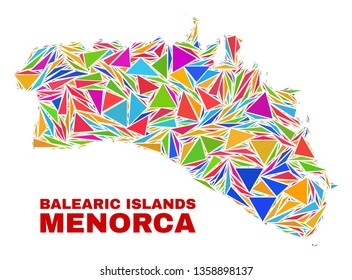 Mosaic Menorca Island map of triangles in bright colors isolated on a white background. Triangular collage in shape of Menorca Island map. Abstract design for patriotic decoration.