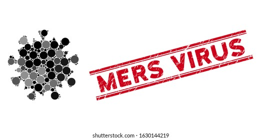 Mosaic MERS virus icon and corroded stamp seal with Mers Virus phrase between double parallel lines. Mosaic vector is composed with MERS virus icon and with random round elements.