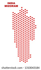 Mosaic Mizoram State map of heart hearts in red color isolated on a white background. Regular red heart pattern in shape of Mizoram State map. Abstract design for Valentine decoration.