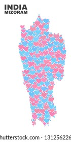 Mosaic Mizoram State map of lovely hearts in pink and blue colors isolated on a white background. Lovely heart collage in shape of Mizoram State map. Abstract design for Valentine decoration.