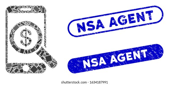 Mosaic mobile audit and rubber stamp seals with NSA Agent text. Mosaic vector mobile audit is created with randomized rectangles. NSA Agent seals use blue color, and have round rectangle shape.