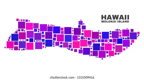 Mosaic Molokai Island map isolated on a white background. Vector geographic abstraction in pink and violet colors. Mosaic of Molokai Island map combined of scattered square elements.