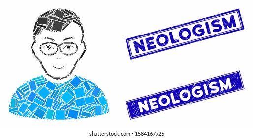 Mosaic nerd man pictogram and rectangular Neologism watermarks. Flat vector nerd man mosaic pictogram of randomized rotated rectangular items. Blue Neologism watermarks with corroded textures.