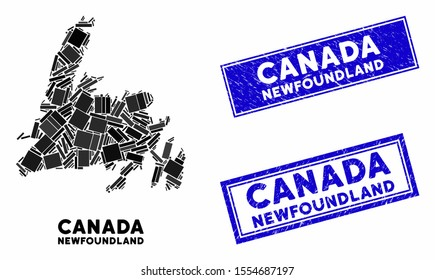 Mosaic Newfoundland Island map and rectangular stamps. Flat vector Newfoundland Island map mosaic of randomized rotated rectangular items. Blue caption stamps with grunged texture.