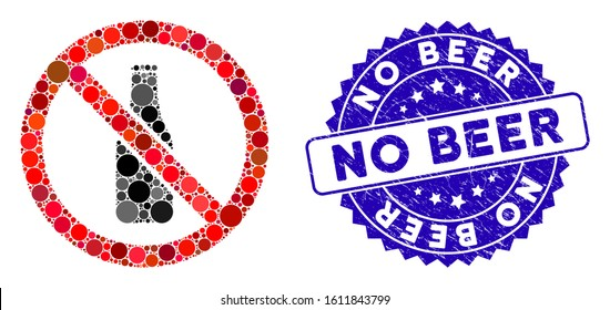 Mosaic no beer bottle icon and rubber stamp watermark with No Beer text. Mosaic vector is designed with no beer bottle icon and with random round items. No Beer stamp uses blue color,