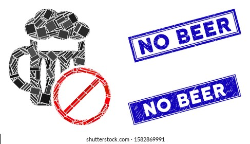 Mosaic no beer drinking icon and rectangular No Beer watermarks. Flat vector no beer drinking mosaic pictogram of random rotated rectangular items. Blue No Beer watermarks with dirty texture.
