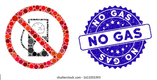 Mosaic no gas station icon and rubber stamp watermark with No Gas caption. Mosaic vector is designed with no gas station icon and with randomized spheric items. No Gas stamp seal uses blue color,