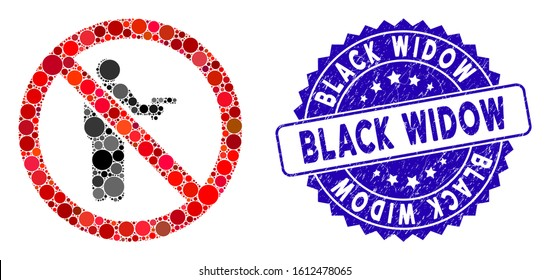 Mosaic no gun using icon and grunge stamp seal with Black Widow text. Mosaic vector is composed from no gun using icon and with randomized spheric spots. Black Widow stamp seal uses blue color,