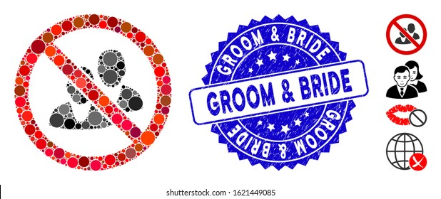 Mosaic no people icon and grunge stamp seal with Groom & Bride text. Mosaic vector is formed with no people icon and with random round items.