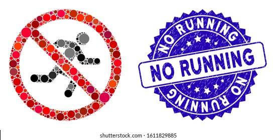 Mosaic no running icon and distressed stamp watermark with No Running phrase. Mosaic vector is designed with no running icon and with random circle items. No Running stamp uses blue color,