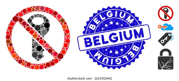Mosaic no secret key icon and grunge stamp seal with Belgium caption. Mosaic vector is created from no secret key icon and with scattered circle items. Belgium stamp uses blue color,
