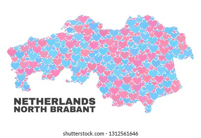 Mosaic North Brabant Province map of lovely hearts in pink and blue colors isolated on a white background. Lovely heart collage in shape of North Brabant Province map.
