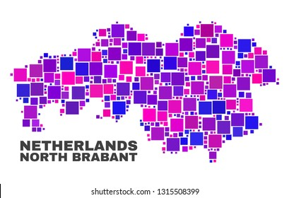 Mosaic North Brabant Province map isolated on a white background. Vector geographic abstraction in pink and violet colors. Mosaic of North Brabant Province map combined of scattered square items.