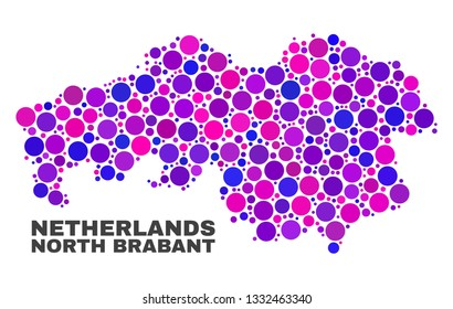 Mosaic North Brabant Province map isolated on a white background. Vector geographic abstraction in pink and violet colors. Mosaic of North Brabant Province map combined of scattered circle points.