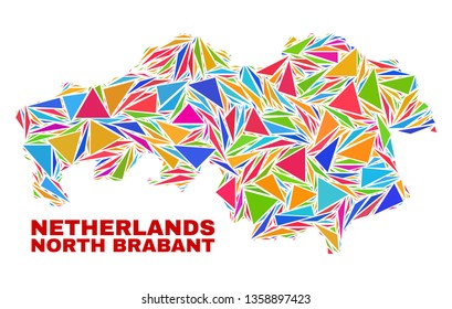 Mosaic North Brabant Province map of triangles in bright colors isolated on a white background. Triangular collage in shape of North Brabant Province map. Abstract design for patriotic purposes.