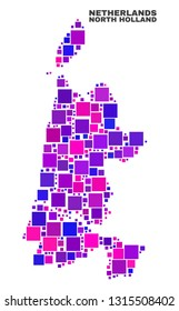 Mosaic North Holland map isolated on a white background. Vector geographic abstraction in pink and violet colors. Mosaic of North Holland map combined of scattered small squares.