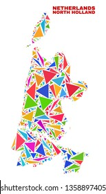 Mosaic North Holland map of triangles in bright colors isolated on a white background. Triangular collage in shape of North Holland map. Abstract design for patriotic illustrations.