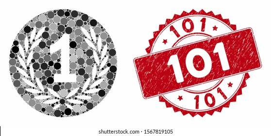 Mosaic one coin and distressed stamp seal with 101 phrase. Mosaic vector is composed with one coin icon and with scattered spheric elements. 101 stamp seal uses red color, and grunge surface.
