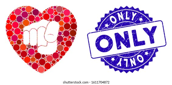 Mosaic only your heart icon and grunge stamp watermark with Only text. Mosaic vector is created from only your heart icon and with scattered spheric items. Only stamp uses blue color,