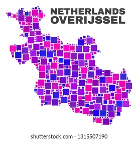 Mosaic Overijssel Province map isolated on a white background. Vector geographic abstraction in pink and violet colors. Mosaic of Overijssel Province map combined of scattered small squares.