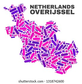 Mosaic Overijssel Province map isolated on a white background. Vector geographic abstraction in pink and violet colors. Mosaic of Overijssel Province map combined of random round points and lines.