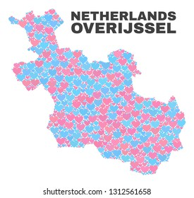 Mosaic Overijssel Province map of valentine hearts in pink and blue colors isolated on a white background. Lovely heart collage in shape of Overijssel Province map.