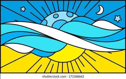 Mosaic pattern for stained glass window: day night sky clouds moon sky summer sun rays mood. Vector Illustration.