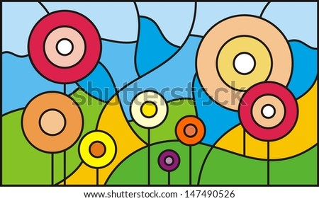 Mosaic Pattern Stained Glass Window Garden Stock Vector Royalty