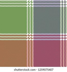 Mosaic pixel check plaid seamless pattern. Vector illustration.