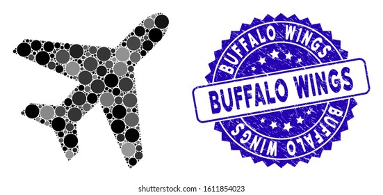 Mosaic plane icon and grunge stamp seal with Buffalo Wings text. Mosaic vector is designed with plane pictogram and with scattered spheric items. Buffalo Wings stamp seal uses blue color,