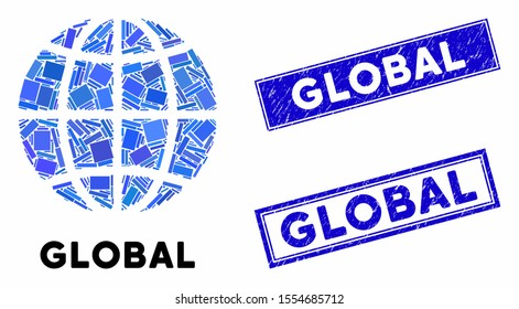 Mosaic planet globe and rectangle seal stamps. Flat vector planet globe mosaic of scattered rotated rectangle items. Blue caption seal stamps with grunged texture.