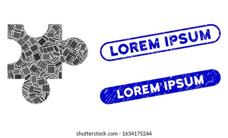 Mosaic plugin and rubber stamp seals with Lorem Ipsum caption. Mosaic vector plugin is designed with randomized rectangle items. Lorem Ipsum seals use blue color, and have round rectangle shape.